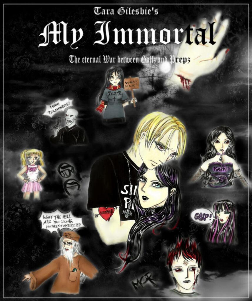 """Affiche proposée pour la fanfiction """"My Immortal"""". Au centre, Ebony et Drago en version gothique s'enlaçent. Tout autour, les versions gothiques des personnages secondaires (Dumbledore, Harry, etc.)."""