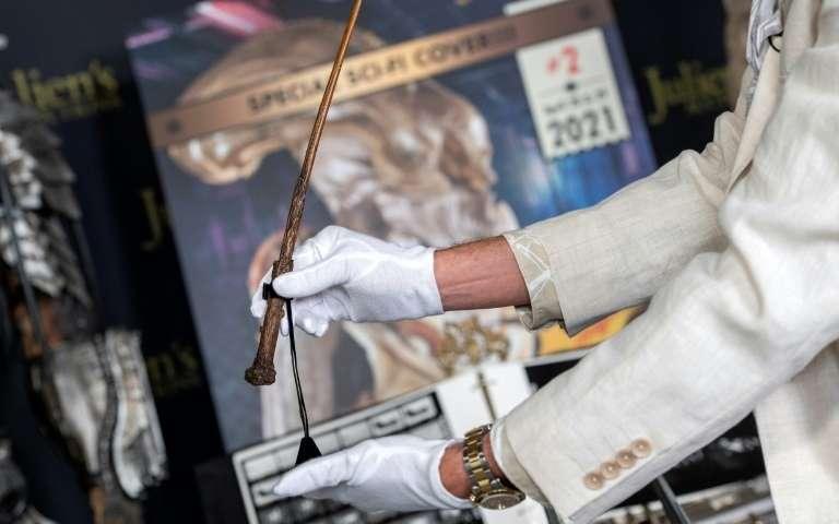 La baguette utilisée par Daniel Radcliffe dans Harry Potter et la coupe de feu. Photo : Valérie Macon/AFP
