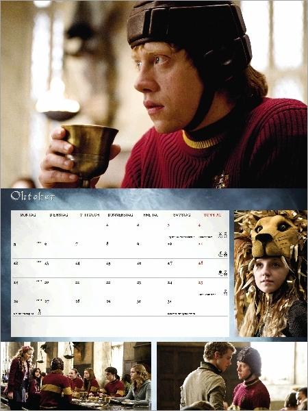 Thématique Quidditch : Ron pensant boire du Felix Felicis, Luna avec son chapeau-lion, Lavande souhaitant bonne chance à Ron, Cormac tentant d'intimider Ron.