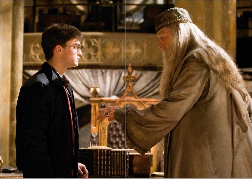 Double page représentant Harry et Dumbledore devant la pensine