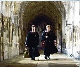 Harry et Ron marchant dans les couloirs