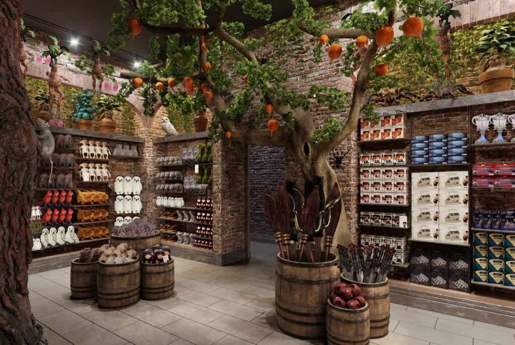 Arbre à plumes dirigeables, peluches, et balais à la boutique Harry Potter officielle de New York, Flagship du Wizarding World