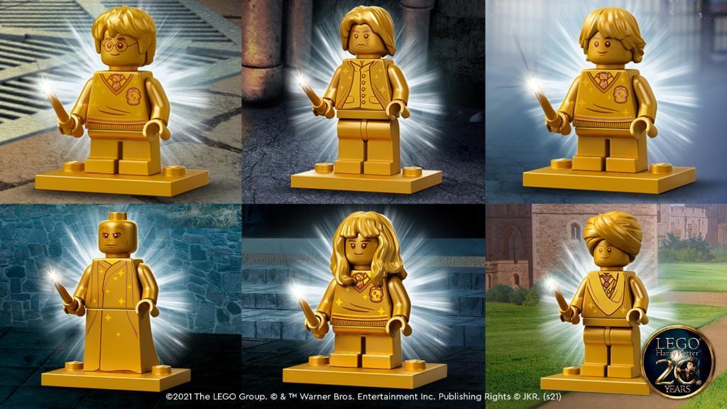 Les 6 mini-figurines exclusives dorées annoncées par LEGO seront à l'effigie de Harry, Ron, Hermione, Dumbledore, Voldemort et Quirrel.