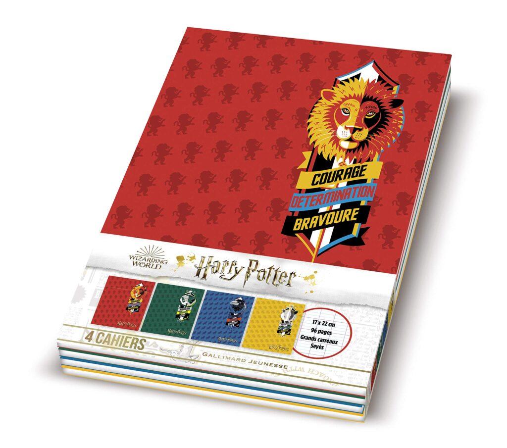 Lot de 4 cahiers Harry Potter aux couleurs des maisons de Poudlard Gallimard