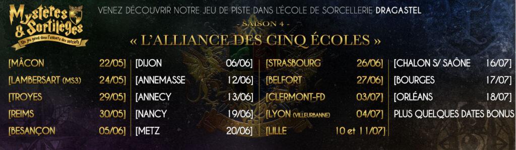 221B Alliance des cinq étoiles jeu mystères et sortilèges saison 4 Paris et Est de la France Harry Potter Ecole de magie et de sorcellerie