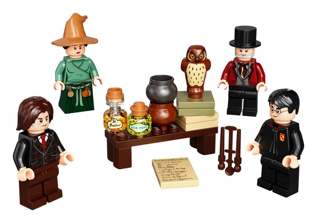 Set de mini-figurines LEGO avec accessoires - Dedalus Diggle, Emmeline Vance, Harry Potter et Mr. Barjow