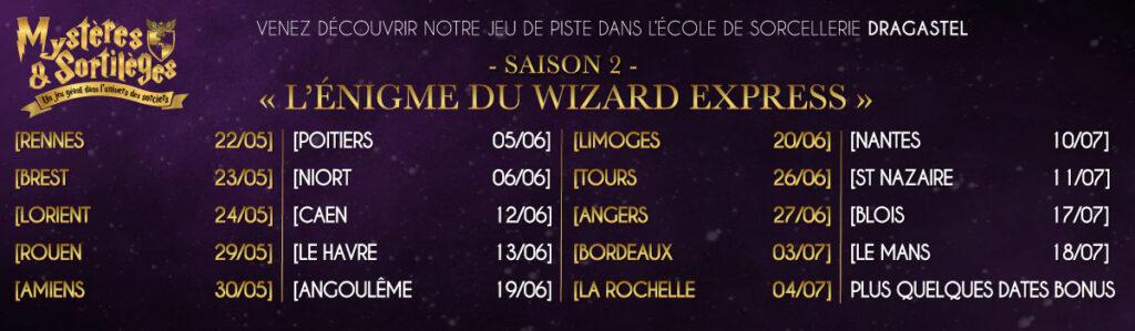 221B L'énigme du Wizard Express jeu mystères et sortilèges saison 2 Ouest de la France Harry Potter Ecole de magie et de sorcellerie