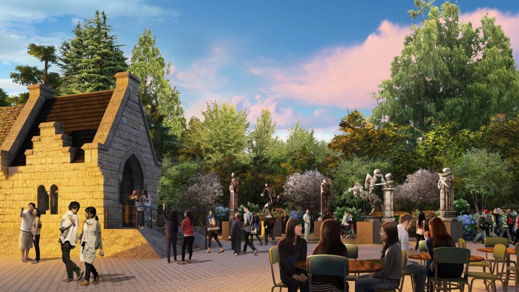 Dessin conceptuel du café du Warner Bros Studio Tour Tokyo: The Making of Harry Potter, avec son espace extérieur.