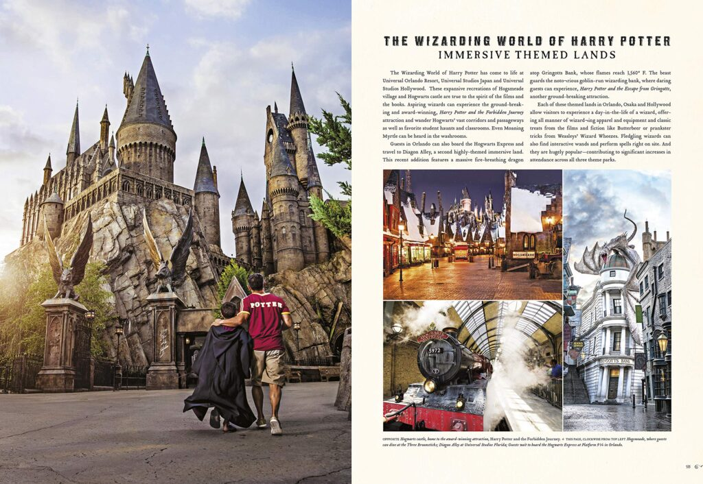 Aperçu du livre Harry Potter Des Romans à l'écran - page sur les parcs d'attractions
