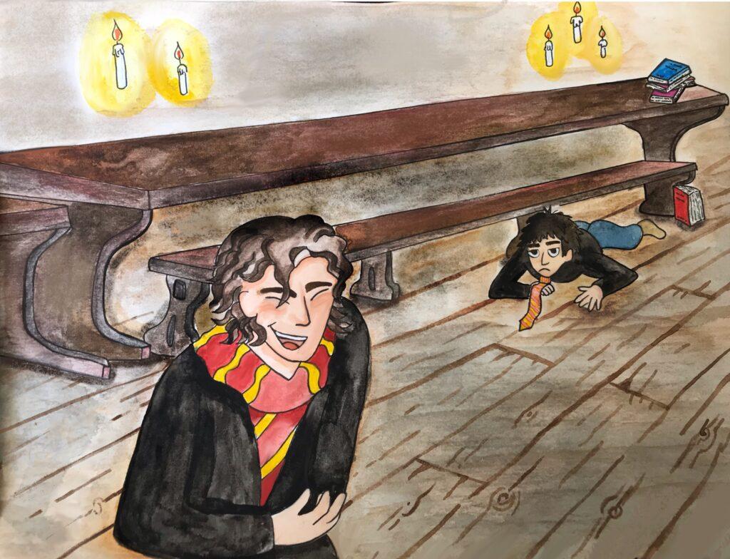 James Potter trébuchant sur une pile de livres by Alendyl.