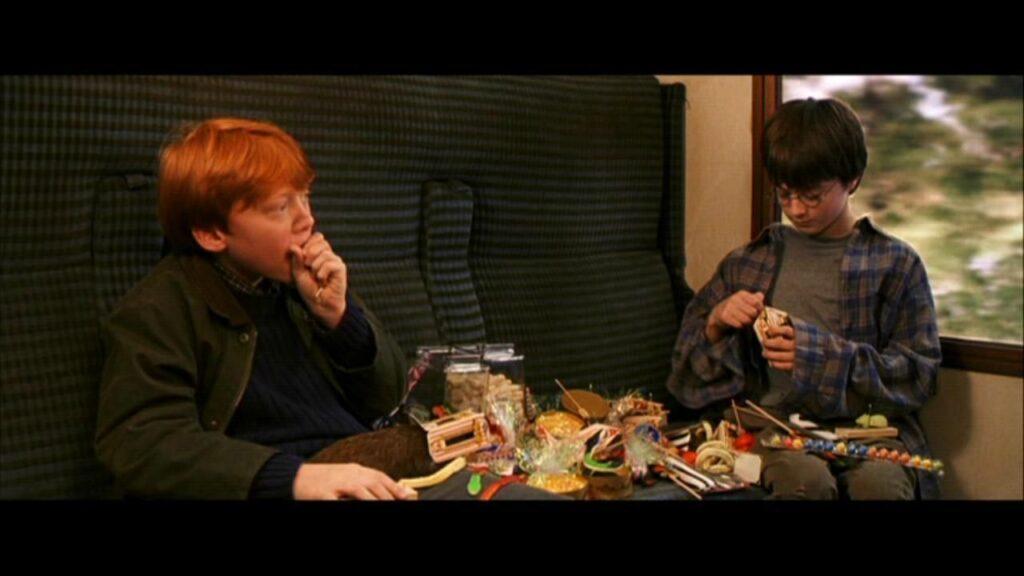 Harry Potter et Ron Weasley dans le Poudlard express