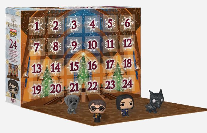 Aperçu calendrier de l'Avent Harry Potter Funko Pop 2021 : figurines Rogue, Crockdur et sombral