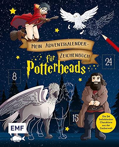 """Calendrier de l'Avent """"Livre de dessin"""" avec modèles dessins Harry sur son balais, Hedwige en plein vol, Buck et Hagrid"""