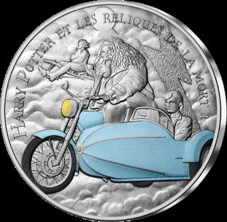 Pièce Harry Potter de 10€ en argent par la monnaie de Paris - Hagord moto volante