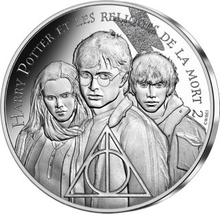 Pièce Harry Potter de 10€ en argent par la monnaie de Paris - le trio et les reliques de la mort