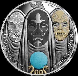 Pièce Harry Potter de 10€ en argent par la monnaie de Paris - Mangemorts et prophétie colorisés, Ordre du Phénix